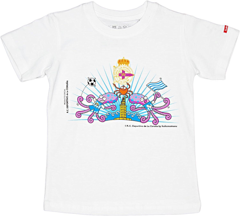 Kukuxumusu Camiseta Dep. Coruña Blanco 10 años (146 cm ...