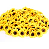 """KINWELL 100pcs Mini Artificial Silk Yellow Sunflower Heads 1.8"""" Fabric Floral for Home Decoration Wedding Decor, Bride Holdin"""