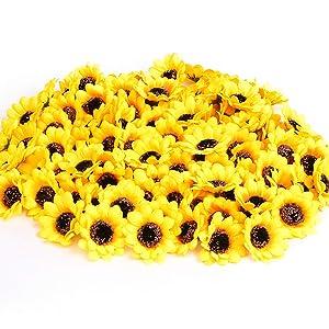 "KINWELL 200pcs Artificial Silk Yellow Sunflower Heads 1.8"" Fabric Floral for Home Decoration Wedding Decor, Bride Holding Flowers,Garden Craft Art Decor"
