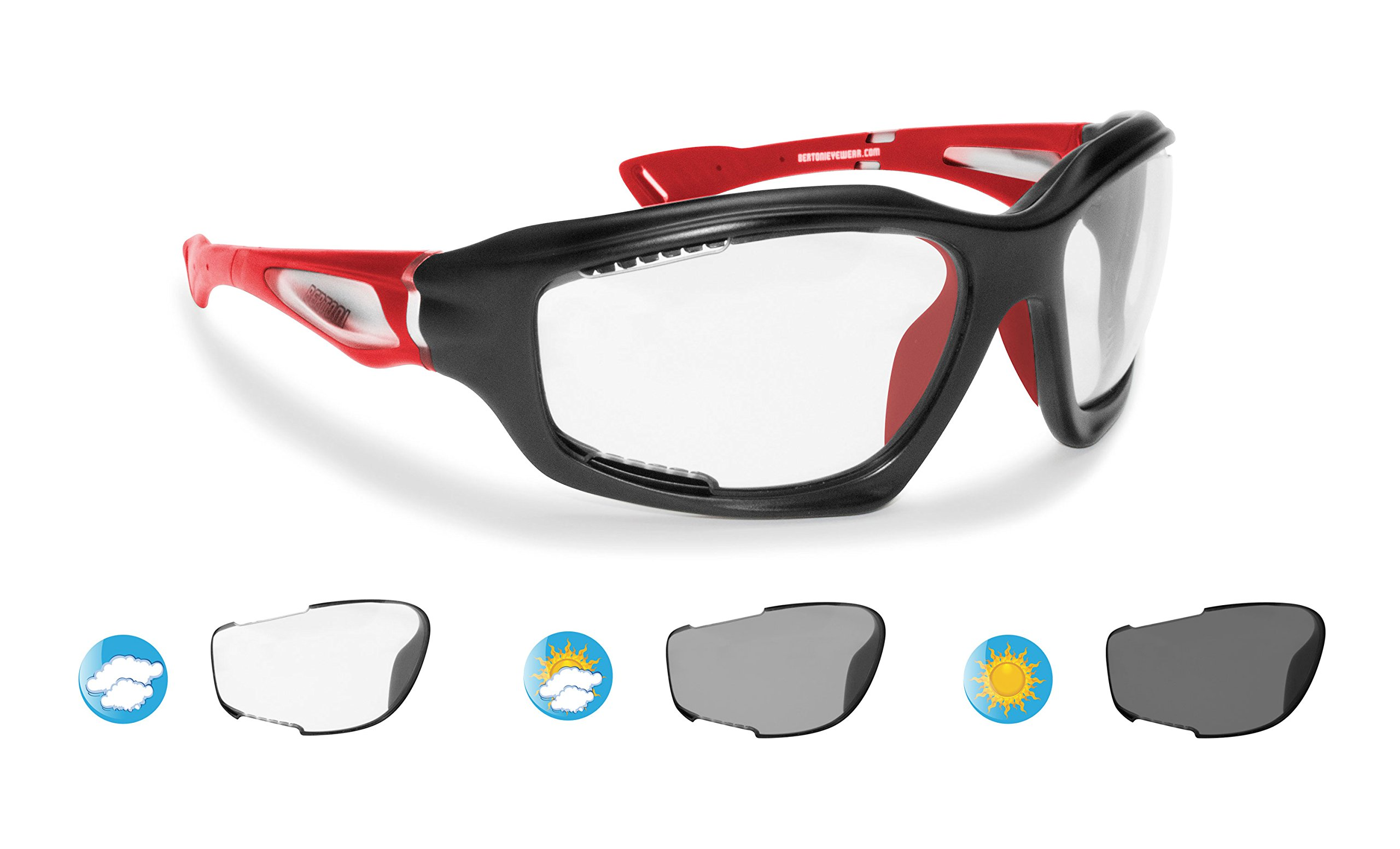 Bertoni Sport Photochromic Antifog Sunglasses cat. 0-3 - Cycling Running Golf Ski Watersports - Anticrash Ventilated Lenses Italy-F1000B1 Mat Black/Red - Wraparound Windproof Sports Glasses