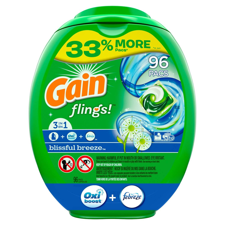 Gain flings! Liquid Laundry Detergent Pacs, Blissful Breeze, 96 Count by Gain (Image #1)