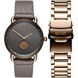 MVMT Revolver Mens Watch Gift Set, 41MM | Includes Brown Leather & Rose Gold Stainless Steel Bands, Analog Watch, Chronograph