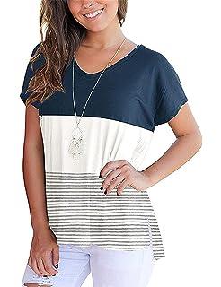 be03cd5e95077 Shirt Femme Eté Elégante Mode T Shirts Rayures Irrégulier Ouvert Style de  fête Casual Manches Courtes Rond Col…
