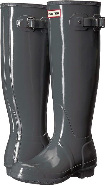 efc10c460a9e Hunter Women s Original Tall Gloss Rain Boots Feather 6 ...