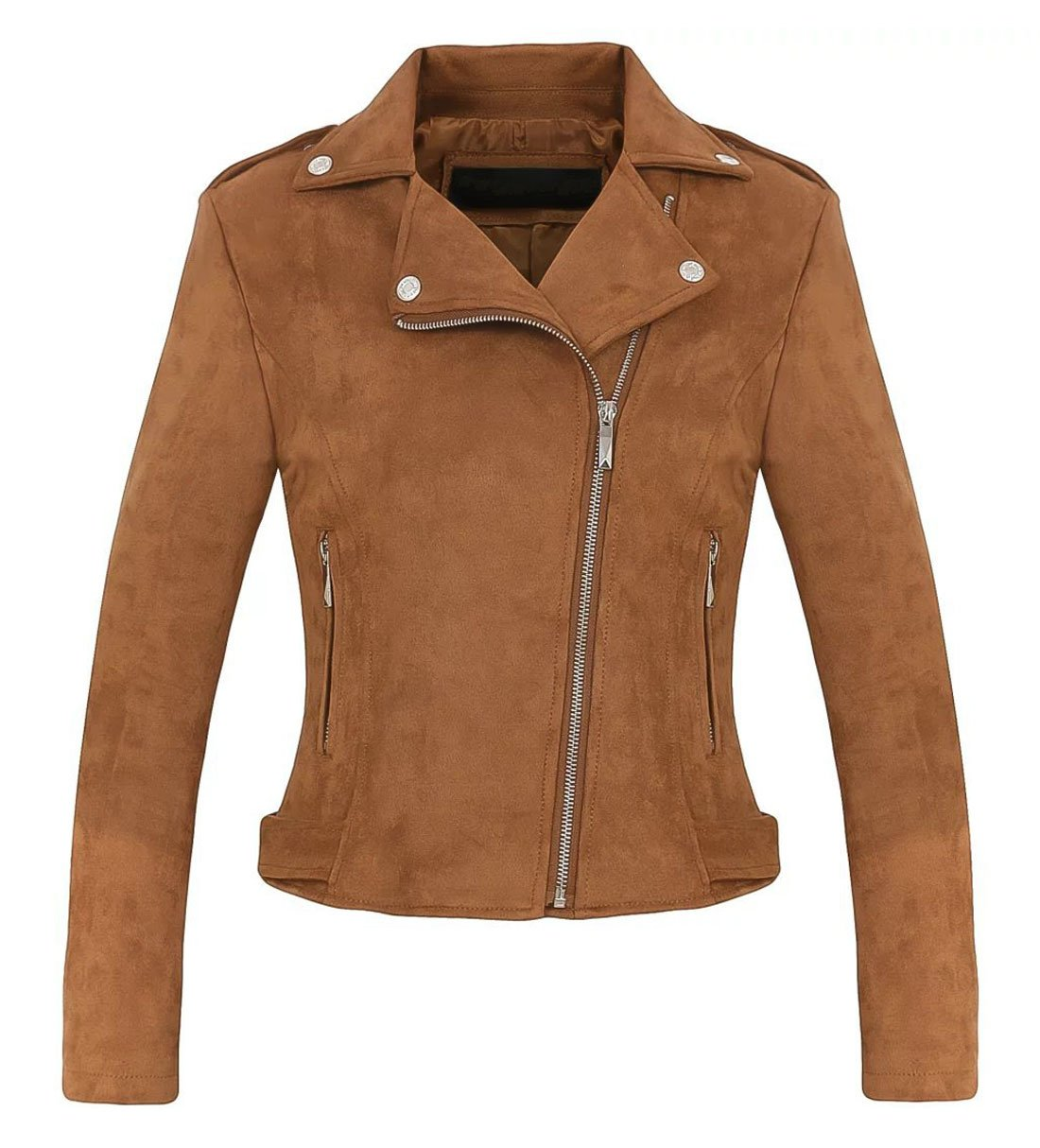 Chartou Women's Stylish Notched Collar Oblique Zip Suede Leather Moto Jacket (Small, Coffee) by Chartou