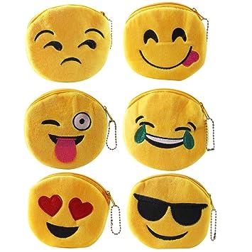 Emoji Monedero,Zuzer 6pcs Felpa Lindo Emoticono Monedero ...