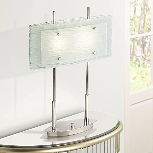 Charles Street Modern Desk Table Lamp Chrome and Satin Nickel Frosted Tiered Slump Glass Shade Dimmer Switch for Living Room Bedroom Bedside Nightstand Office – Possini Euro Design