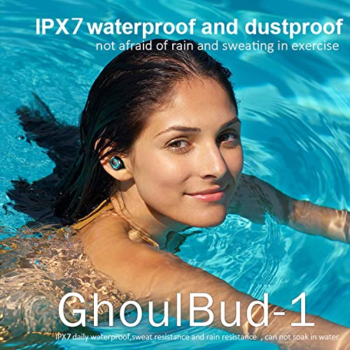 GhoulBud 1 – True Wireless Earbuds, Bluetooth Earphones, Wireless Headphones, Bluetooth 5.0 Deep Bass, 300H Playtime IPX7 Waterproof, Quality Stereo in-Ear Headphones Black