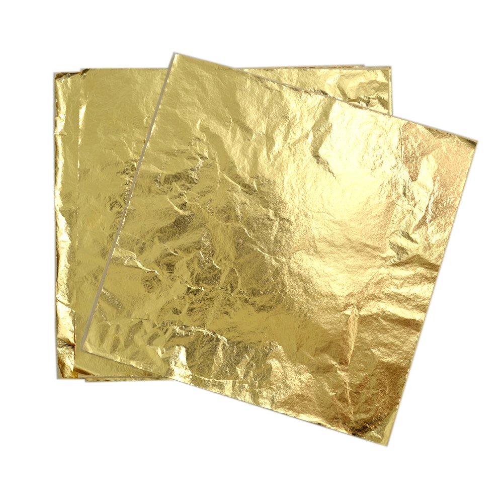 BronaGrand 100 Sheets Imitation Gold Leaf for Art, Crafts Decoration, Gilding Crafting, Frames(5.5×5.5 Inches)