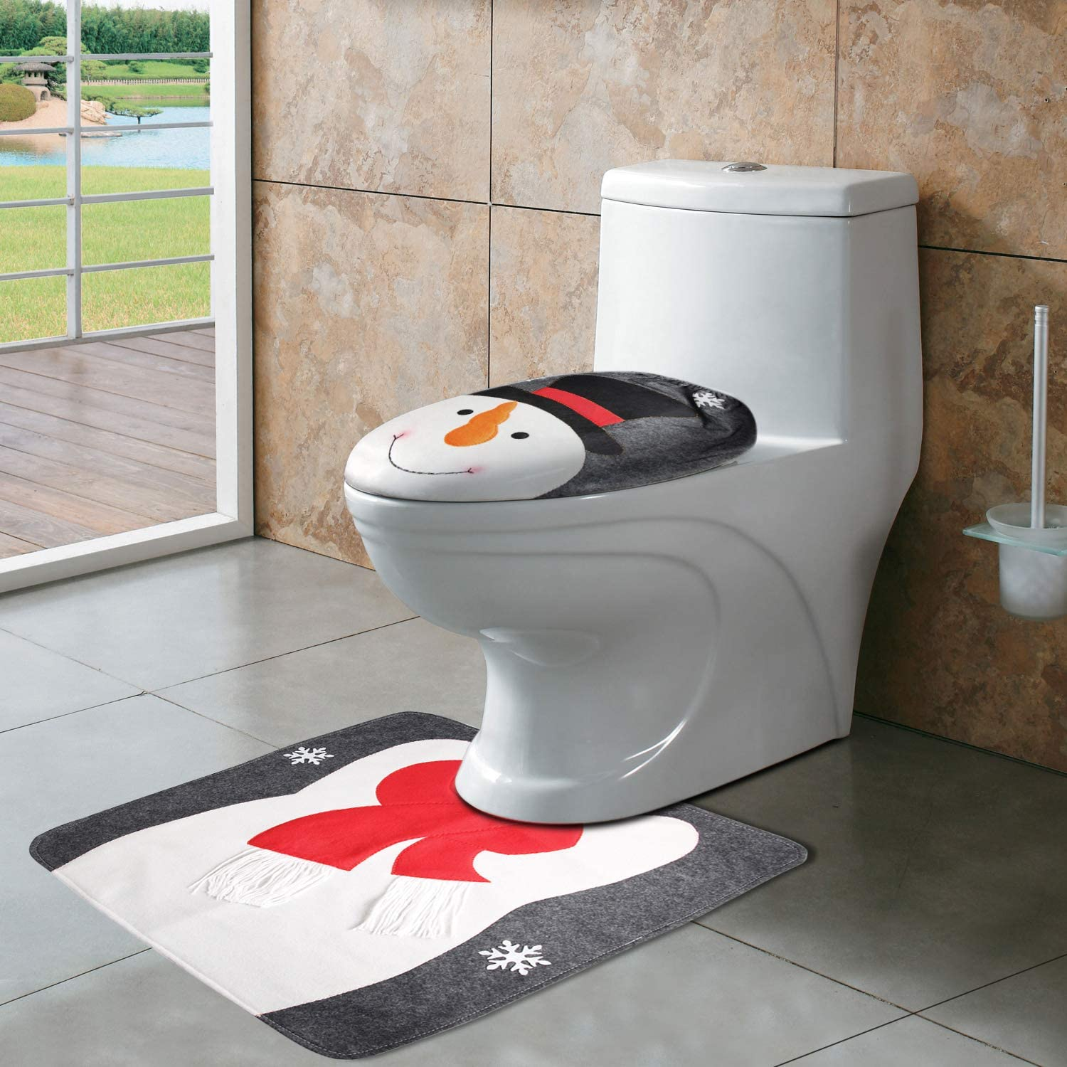 Depointer CrtWorld Rug Seat Christmas Bathroom Sets(Snowman Toilet Cover)