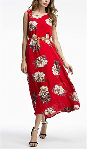 besthoo Maxi sukienka koktajlowa sukienka okrągłe wycięcie pod szyją damska bez rękawÓw Floral drukowane na ubrania Female piękna Loose sukienka plażowa topÓr tymczasowe Hipster le