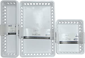 Mini Storage Trays Bin Bundle- Basic Square 3pk, Slim Plastic Storage Trays Basket 3pks, Rectangular 2pk -White