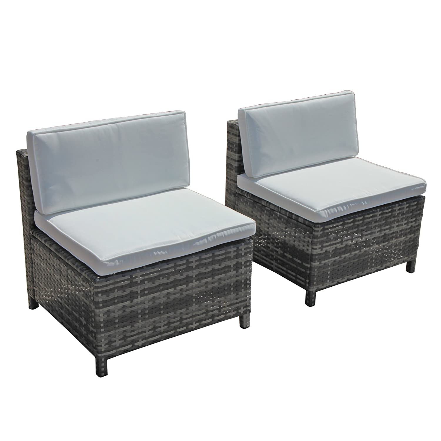 PATIORAMA Armless Chair Outdoor Furniture Sectional Sofa Set All-Weather Grey PE Wicker with Cushions Patio, Backyard, Pool Steel Frame
