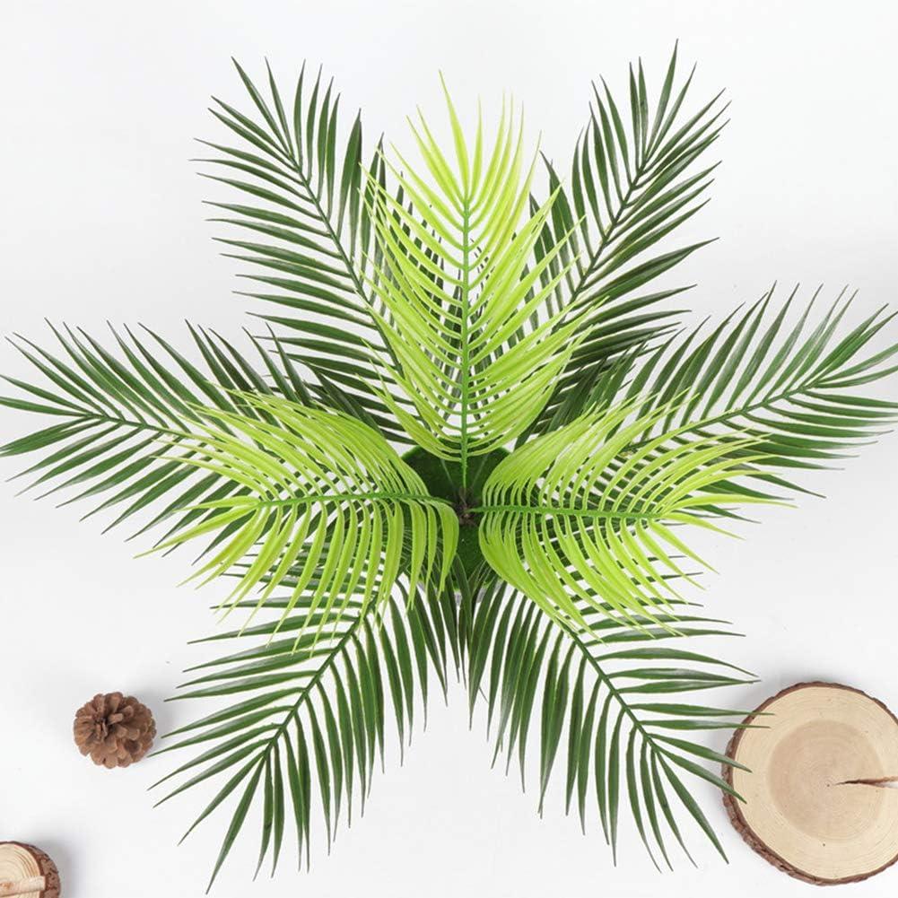 Hojas de plantas artificiales, hojas de palmera de plástico artificial, para la oficina en casa, color verde, verde, Tamaño libre