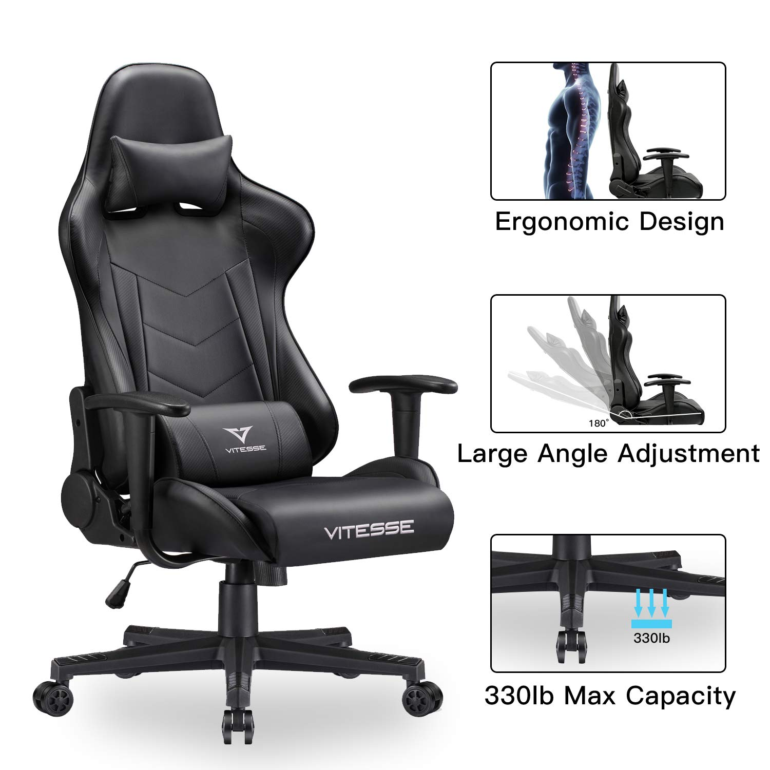 Stupendous Vit Computer Gaming Chair Racing Style High Back Pc Chair Ergonomic Office Desk Chair Swivel E Sports Leather Chair With Lumbar Support And Headrest Inzonedesignstudio Interior Chair Design Inzonedesignstudiocom