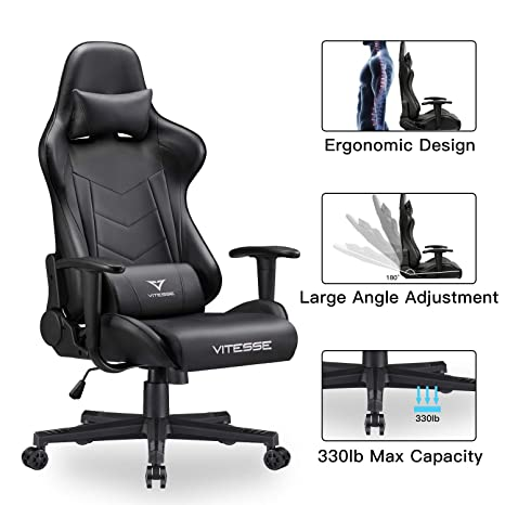 Outstanding Vit Computer Gaming Chair Racing Style High Back Pc Chair Ergonomic Office Desk Chair Swivel E Sports Leather Chair With Lumbar Support And Headrest Caraccident5 Cool Chair Designs And Ideas Caraccident5Info