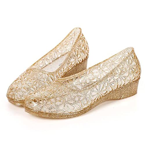 f7ed7d5e76a122 xsby Womens Hollow Glitter Crystal Ballet Flat Jelly Shoes Sandals Gold 36