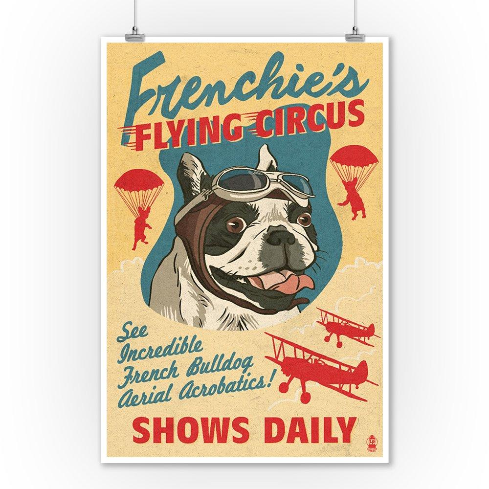 Amazon.com: French Bulldog - Retro Flying Circus Ad (9x12 ...