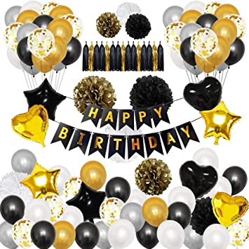 TOPWINRR Decoracion Fiesta Cumpleaños Niño Guirnaldas Decoracion Cumpleaños Globos Cumpleaños Happy Birthday Globos Látex Confeti Strella Negros ...