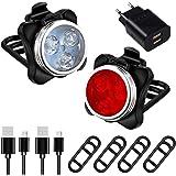 AMANKA Luces Bicicleta Recargable LED, Luz para Bicicleta por USB Conjunto de Luces Delantera y Trasera para Bicicleta 4…