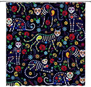 BCNEW Day of The Dead Shower Curtain Skull Cats and Sugar Skulls Colorful Flowers Paisley Vintage Floral Creative Pattern Polyester Fabric Bathroom Decor Set 70×70 Inch with Hook Hole