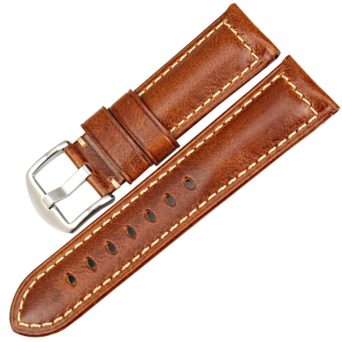 MAIKES Vintage Oil Wax Leather Strap Watch Band 5 Colors Available 22mm 24mm 26mm Watchband Greasedleather Wristband (Band Width 20mm, Light Brown+Silver Clasp)