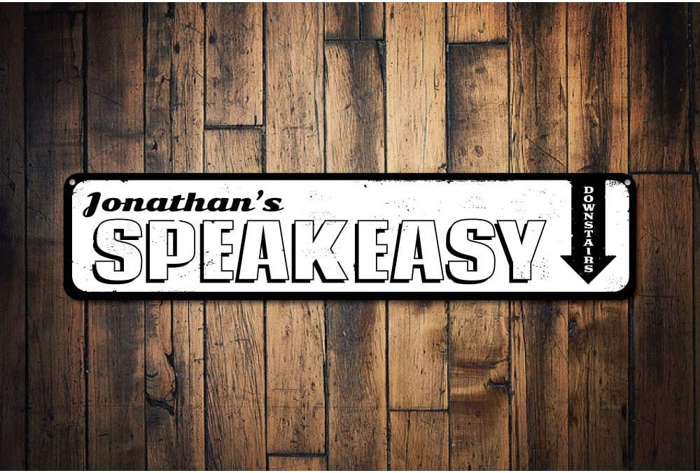 Speakeasy Sign Personalized Downstairs Directional Arrow Sign ENSA1001168