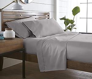 Westbrooke Linens 400 Thread Count, 100% Long-Staple Ultrafine Cotton 4 Piece Pleated Hem Sheet Set, Solid Sateen Weave, 16inch Elastic Deep Pocket, OekoTex Certified (Queen, Grey Silver)