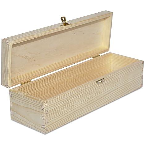 Creative Deco Caja Madera Vino para Decorar | 1 Botella | 35,1 x 11 x 9,8 cm | Perfecta para Regalo Decoupage Almacenamiento Decoración Manualidades