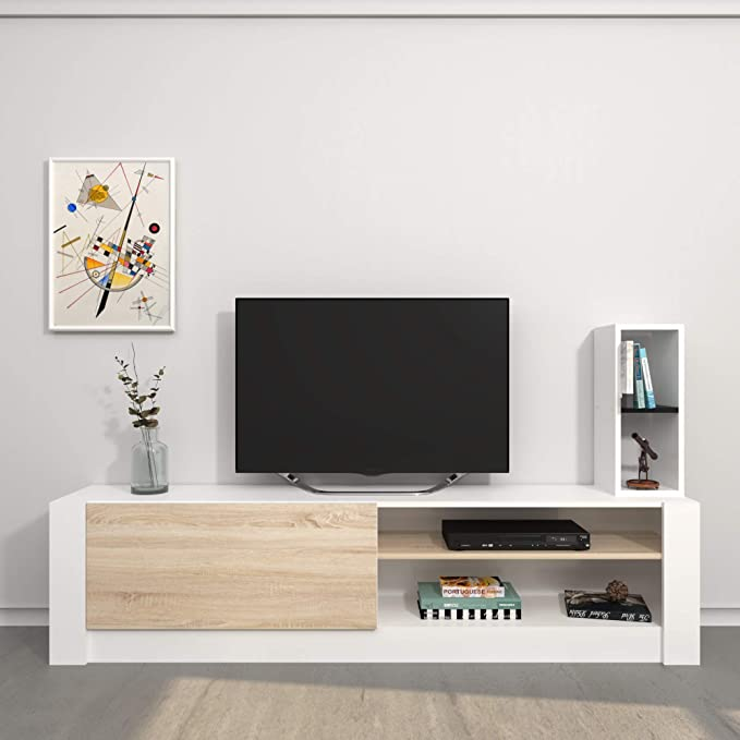 Bianco-Sonoma 180x28,4x40 cm-35//45//55X15x15 cm Legno Homemania Mobile Porta TV Campbell