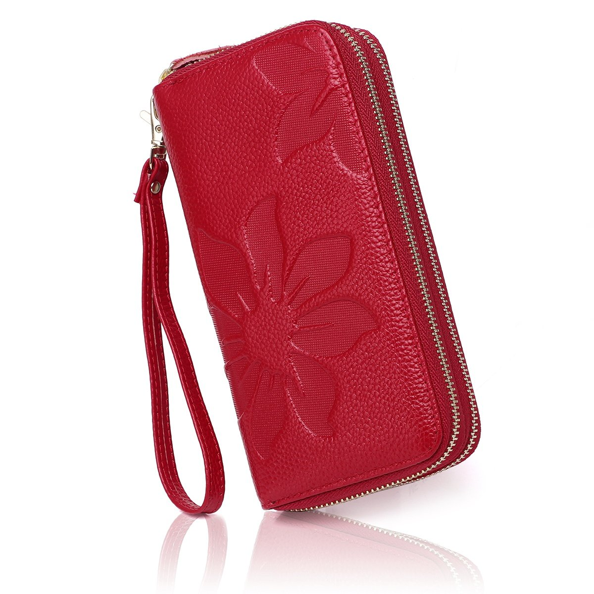 APHISON Women RFID Blocking Purse Zipper Leather Wallet Card Holder/Gift Box 8348 (RED) 333RPL8348RED