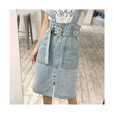 cb4063832 Ladies Suspender Skirt up High-Waisted Denim Skirt European Style Vintage Fashion  Skirts at Amazon Women s Clothing store