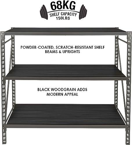 Steelman 3.5-Foot 3-Shelf Adjustable Storage Rack for Garage or Workshop, Each Shelf has a 500-lb Load Capacity, Powder-Coated Steel, Anti-Twisting Load Straps, 48 x 42 x 14 inches