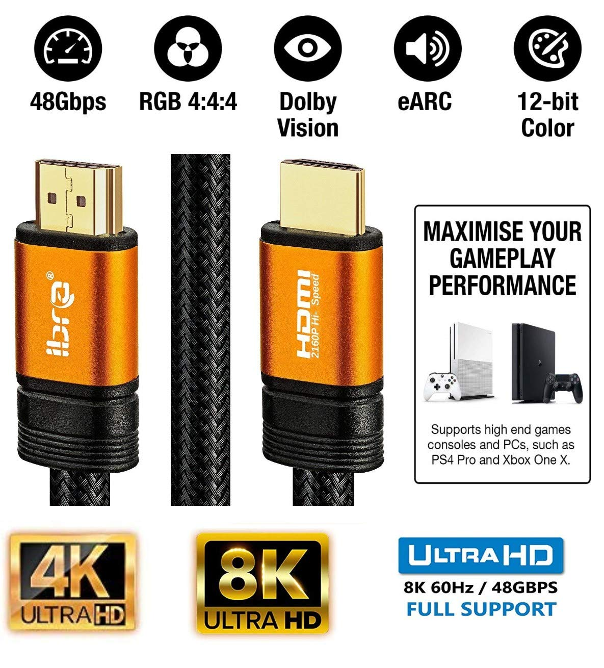 4K@120HZ Supporta 8K@60HZ funzione Ethernet 3D-Xbox PlayStation PS3 PS4 PC compatibile con Fire TV 4320p supporto 3D Cavo HDMI IBRA 2.1 Cavo 8K Ultra High Speed 48Gbps 3M 8K UHD