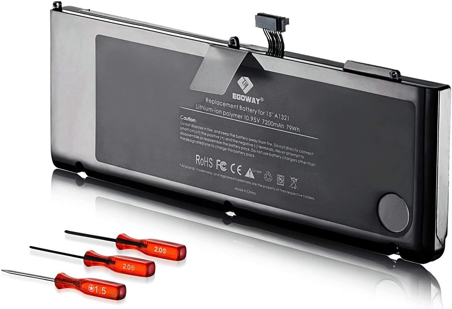 E EGOWAY Replacement Laptop Battery Compatible for MacBook Pro 15 inch A1321 A1286 Mid 2009 and 2010