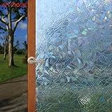 Arthome Película Privacidad Decorativa de Vidrio 45CM x 254CM,Efecto Arco Iris,Sin Pegamento Vinilo Pegatina de Ventana,Adher