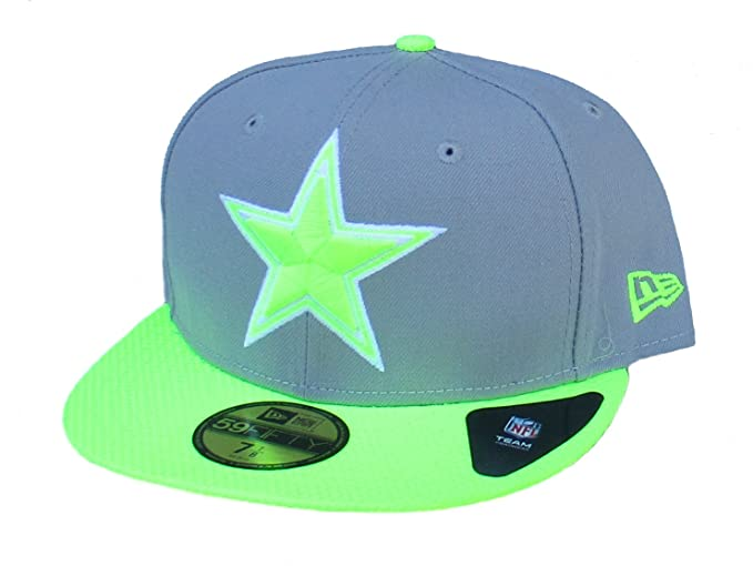 321b46949 Amazon.com : Dallas Cowboys Fitted Size 7 1/8 Neon Yellow and Gray ...