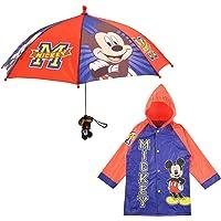 Disney boys Disney Little Boy's Mickey Mouse Slicker and Umbrella Rainwear Set