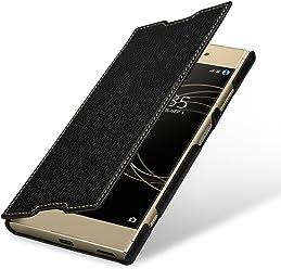 StilGut Book Type sans Clip, Housse en Cuir pour Sony Xperia XA1 Plus. Etui de Protection pour Sony Xperia XA1 Plus à Ouverture latérale, Noir