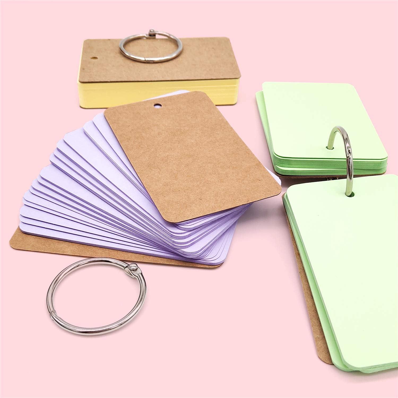 JJQHYC Mini carte di studio della carta,blocchetti per appunti dellappunto della carta kraft//schede con anello legante in metallo 8 colori