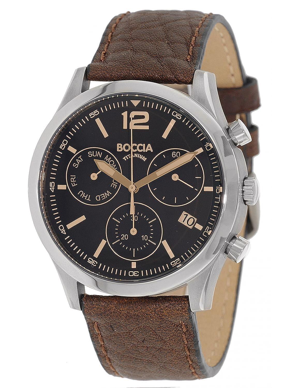 Boccia 3757-01 braunes Lederarmband Chronograph