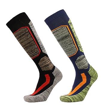 2 pares de calcetines de senderismo para hombre, Sunbeter Calcetines altos de rodilla más cálidos