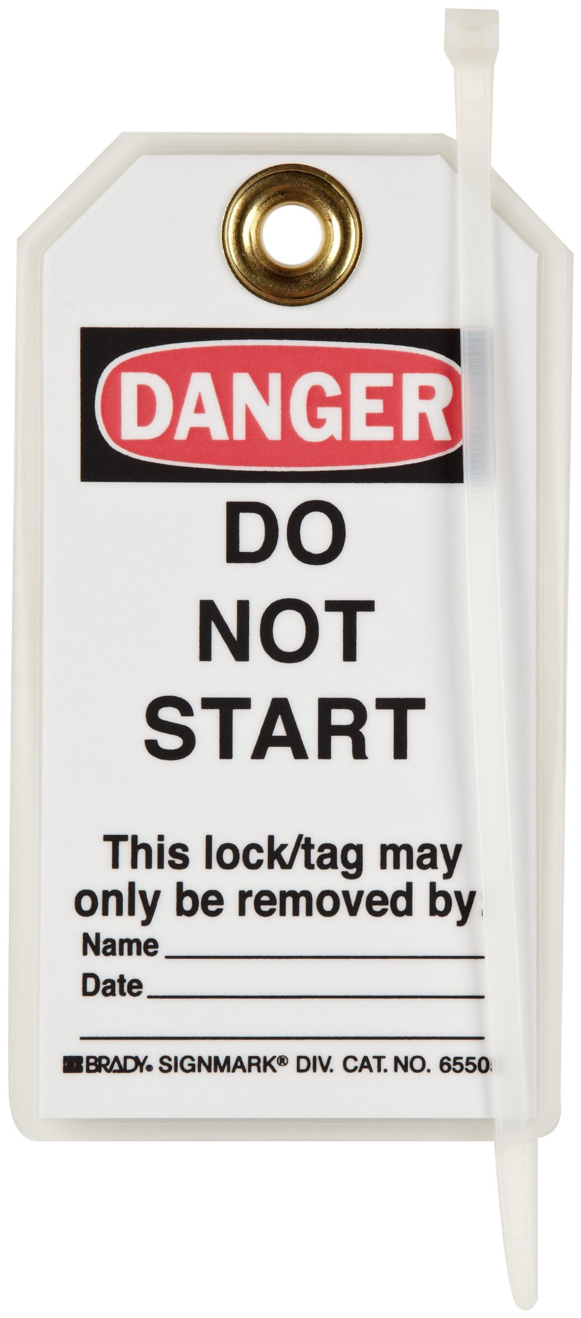 Brady ''Danger - Do Not Start - Unauthorized Removal...'' Tag, Heavy Duty Polyester, 5-1/2'' Height, 3'' Width (Pack of 25)