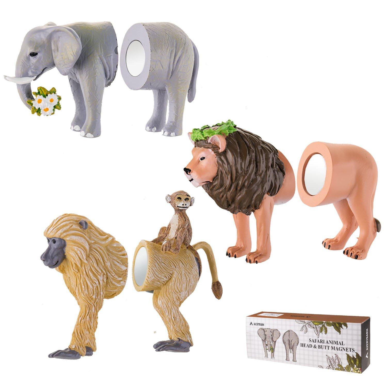Avery Barn 6PC Safari Animal Head & Butt 3-D Refrigerator Magnets Funny