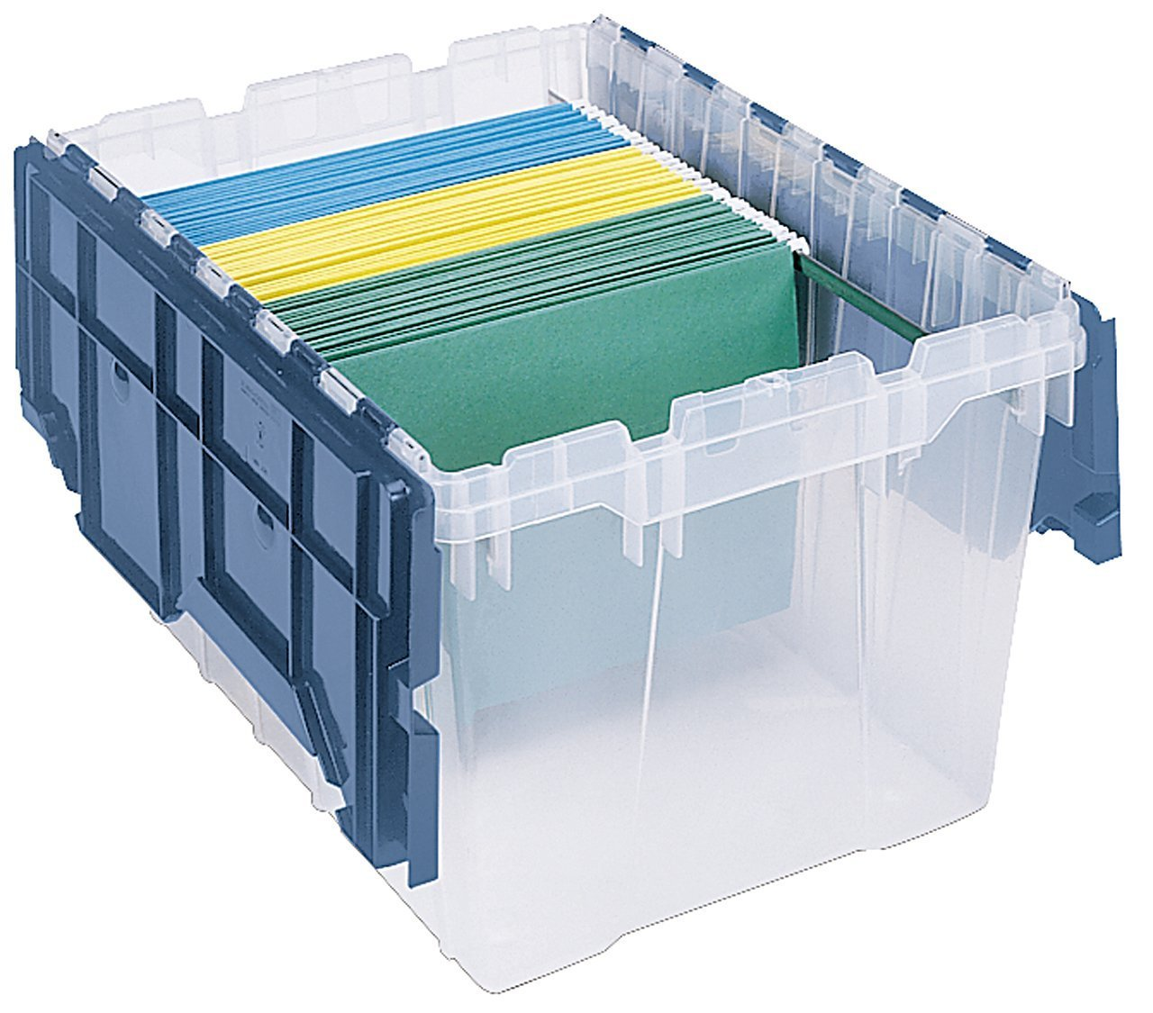 B000Z5BKR2 Akro-Mils 66486 FILEB 12-Gallon Plastic Storage Hanging File Box with Attached Lid, 21-1/2-Inch by 15-Inch by 12-1/2-Inch, Semi-Clear 61DdWdvxrCL._SL1200_