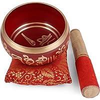 'ZAP Impex® Bol de meditación tibetano Om Mani / almohadón / mao de 4 pulgadas rojo