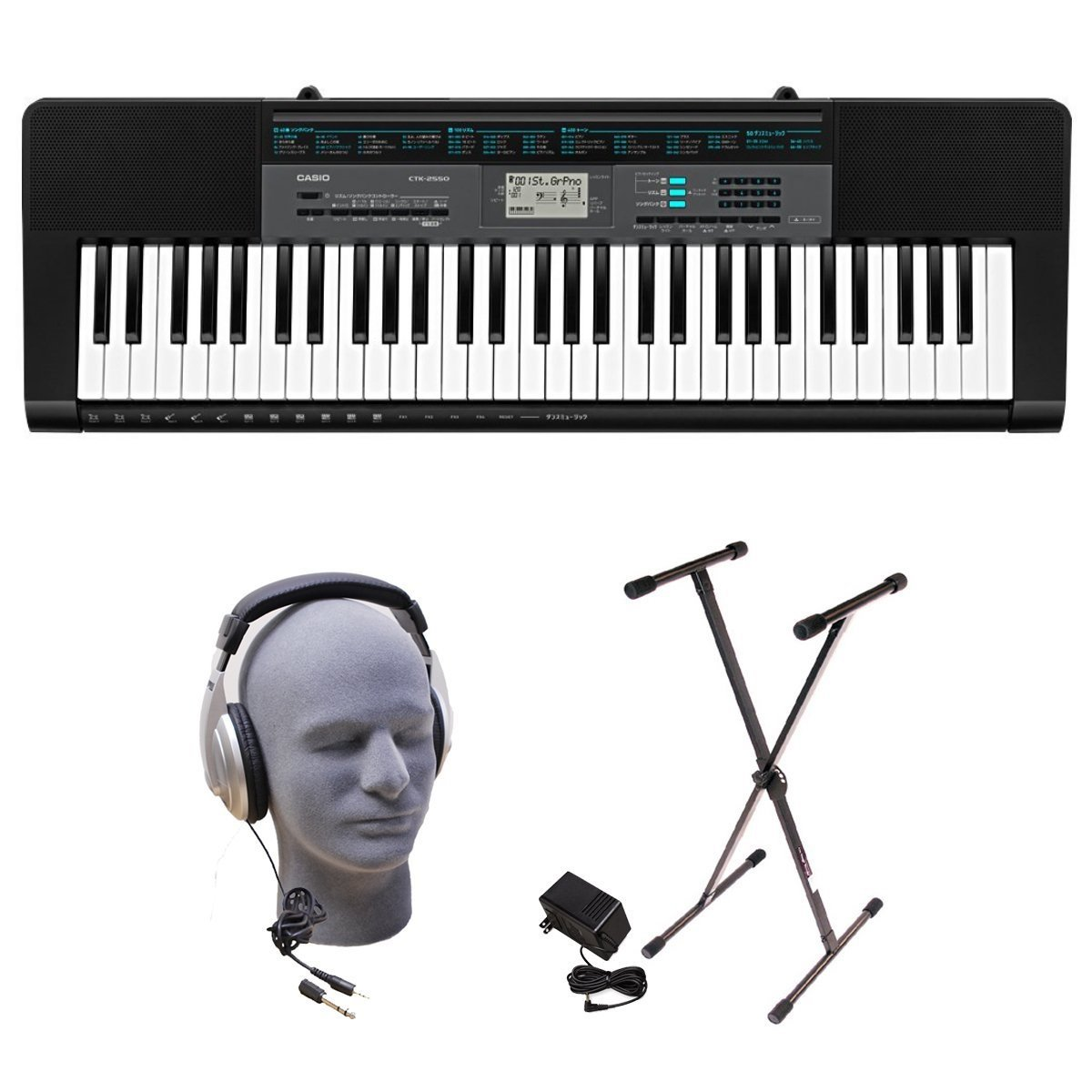 Casio CTK-3500 Learn-To-Play Quincy Jones Keyboard Bundle with Playground Sessions CTK3500 PGS