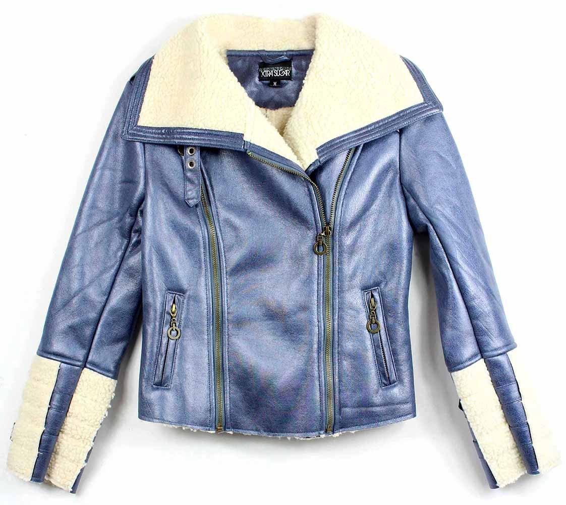 Xtra Sugar Girl's PU Leather jacket (Medium, Metallic Blue) by Xtra Sugar (Image #1)