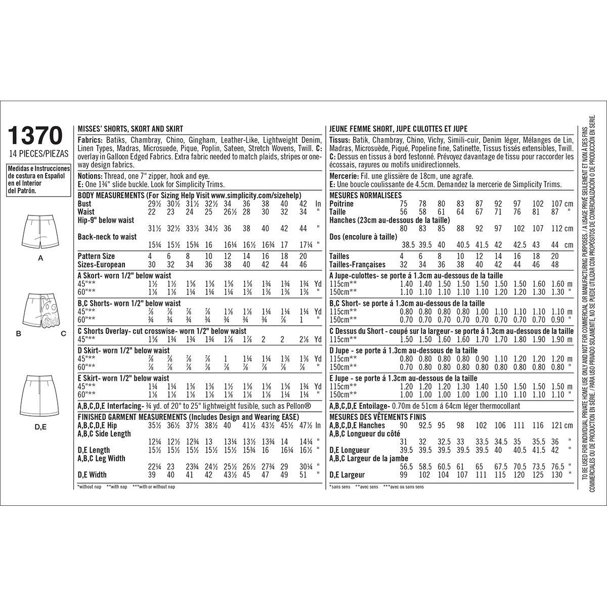 Simplicity 1370 tamaño D5 patrón de Costura para Pantalones Cortos ...