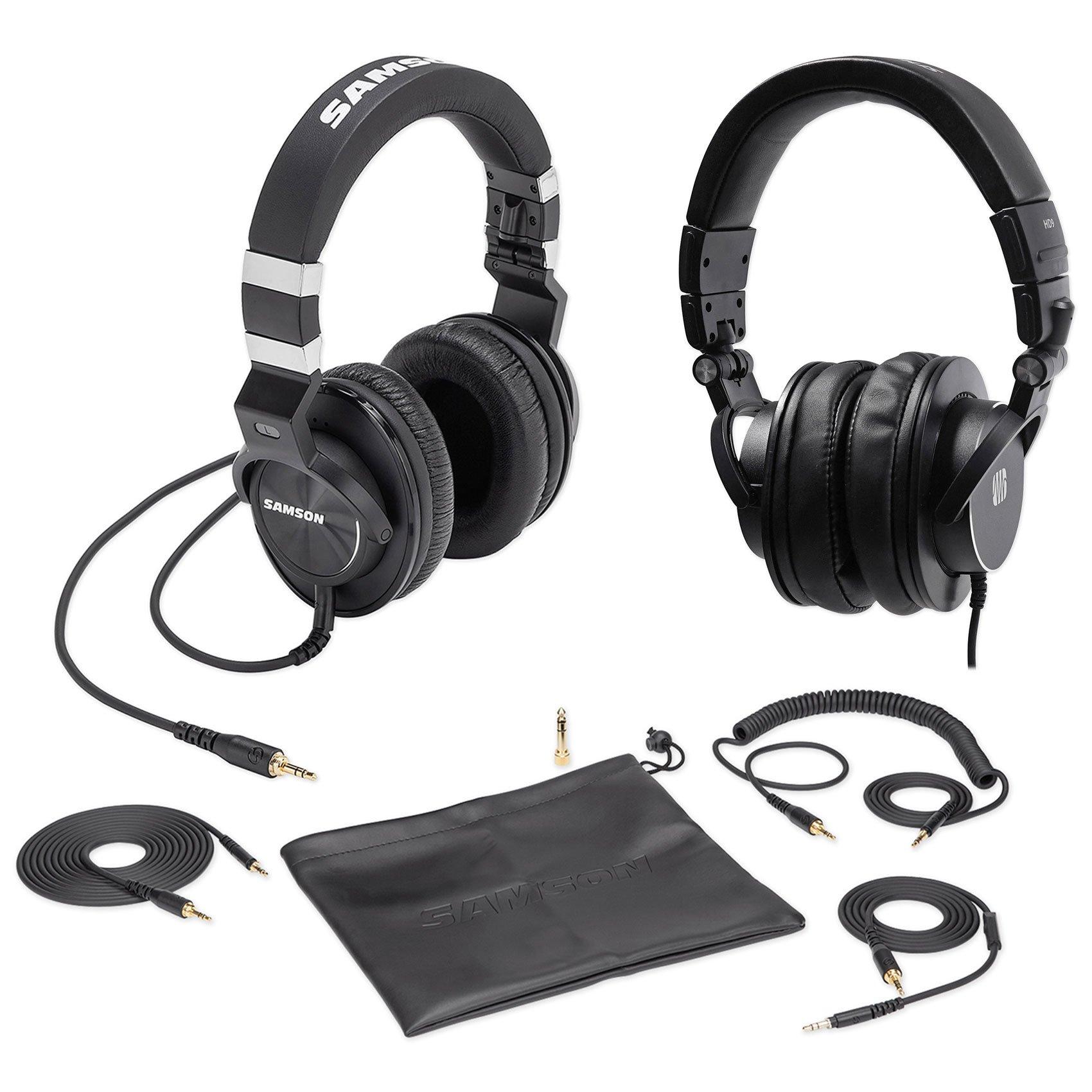 Samson Z-55 Studio Headphones, Closed-Back w/Lambskin Pads + Presonus Headphones